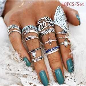 Jewelry - NEW! 18 piece ring set , set sizes, not adjustable
